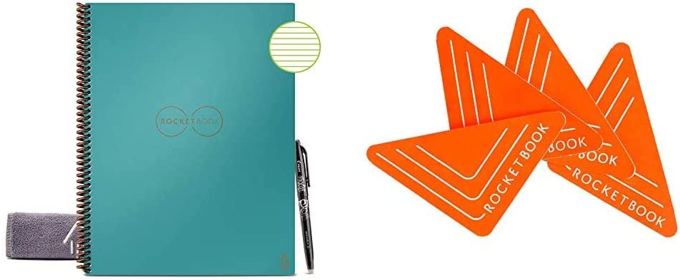 "Rocketbook Smart Reusable Notebook with Pen & 1 Microfiber Cloth Included - Neptune Teal Cover (8.5"" x 11"") & Beacons with Carrying Case (1 Pack), BEA-A4-K"