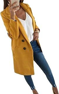 Macondoo Women Autumn Winter Double-Breasted Coat Lapel Mid Length Jacket Woollens Overcoat