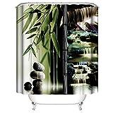 LLLTONG Wasserdichter Duschvorhang aus Polyestergewebe, Mehltau & antibakterielles 3D-Digitaldruckmuster Bamboo Falls