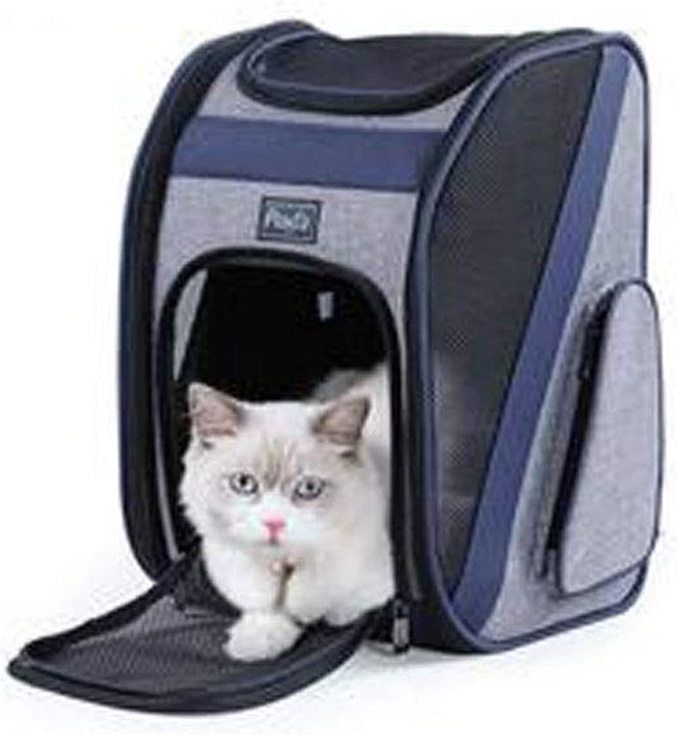 Collapsible Pet Backpack, Cat and Dog Backpack Carrier Travel Bag Small Animals, Designed for Walking, Outdoor Use (color   bluee)