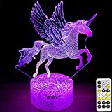 Unicorn Night Light for Kids,Dimmable LED Nightlight Bedside Lamp,Timer,7 Colors Changing,Touch&Remote Control,Best Unicorn Toys Birthday Christmas Gifts for Girls Boys (Unicorn) (Unicorn)