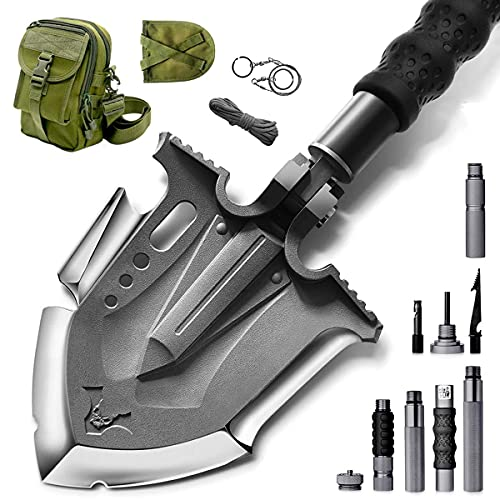 Zune Lotoo Survival Camping Shovel Folding Tactical Gear Military with Patented 6 Shifted Key and Casting Technology,24 in 1 Multifunctional Outdoor Folding,Off-Roading,Emergency,Camping,Hiking,F-A3