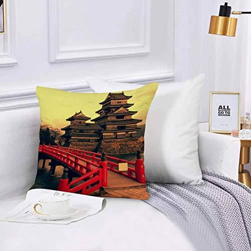 Lilatomer Funda de algodón 45 x 45 cm Castillo Matsumoto Japón Defensa Honshu Monumentos Parques orientales China Fortificaci Sofá Throw Cojín Almohada Caso de la Cubierta para Sala de Estar 45x45cm