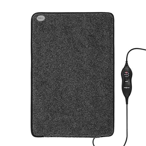 OneConcept Magic Carpet DX - Tapis Chauffant, natte chauffante, électrique, 75 Watts, 3 Vitesses, minuterie, 60 x 40 cm, Faible consommation électrique, Surface résistante en Polyester, Gris