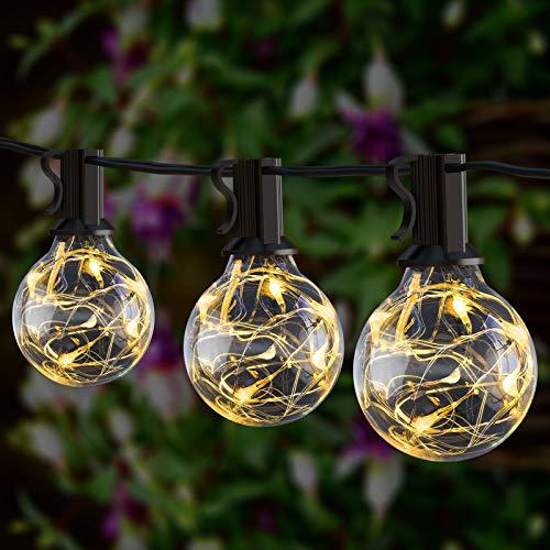 Babacom Lichterkette mit 8 Beleuchtungsmodi, 9M G40 Lichterkette Innen Außen mit 26 Kunststoff Edison Glühbirnen (1 Ersatzbirnen), Anschließbare Wetterfeste Lichterkette Kugeln für Garten Balkon Party