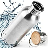 Pure Design Botella Acero Inoxidable 1 litro con Tapa de Madera. Botella de Agua Normal y aislada 1000ml, 750ml, 500ml, 350 ml. Sin Plástico & Logos & BPA, 110% Garantia de por Vida