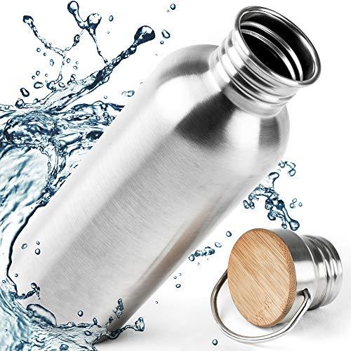 Pure Design Trinkflasche Edelstahl 1l - 1000ml, 750ml, 500ml, 350ml mit Bambus Kappe, Leicht Auslaufsicher Edelstahlflasche für Sport und Büro - Kein Plastik & Ohne Logos, BPA Frei, Lebensdauer GAR.