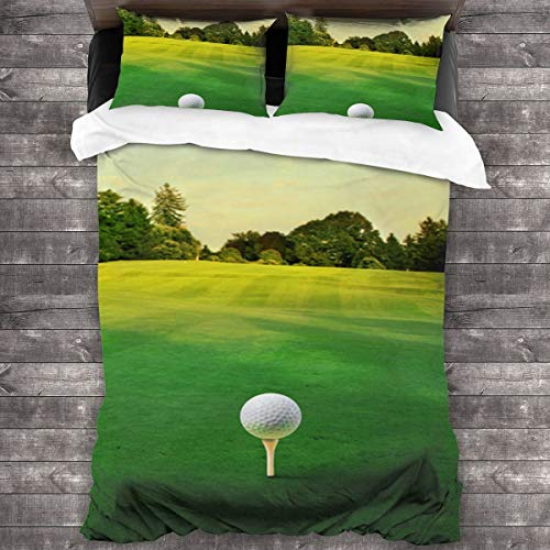 Duvet cover bedding Set,Golf,Green Lawn,Outdoor Scenery,Sports,Nature,3 Piece Set bedding with 2 pillowcases,Single(135 * 210cm)