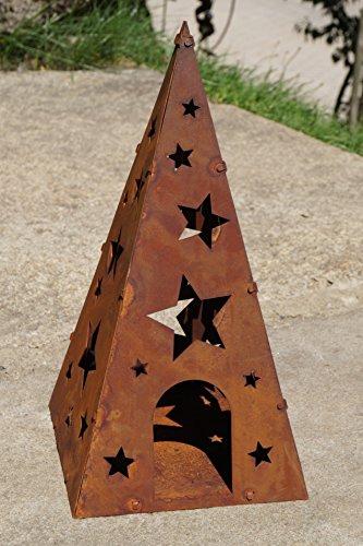Rostalgie Edelrost Windlicht Pyramide Sterne klein H38cm, inkl. Herz 8x6cm Weihnachten Gartendekoration Laterne Advent - 1 Stück