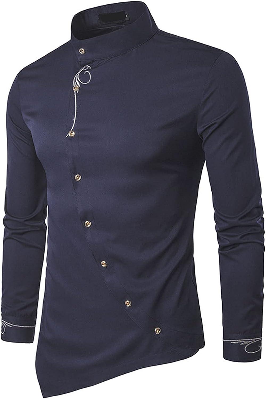 Men's Gold Embroidery Dress Shirts Irregular Hem Slim Fit Button Down Long Sleeve Mandarin Collar Shirt Tops