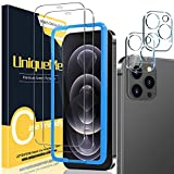 [2+2 Pack] UniqueMe Camera Lens Protector and Screen Protector Compatible with iPhone 12 Pro Max 6.7 inch Tempered Glass [Precise Cutout][Easy Installation Frame] HD [9H Hardness] [Bubble Free]