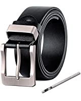 XIANGUO Mens Pin Buckle Belt Antique Casual Style Belt Black
