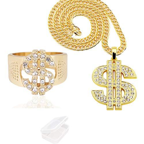 PPX 2 Piezas de Cadena Chapada de Oro y el Anillo para Hombres con Signo de Dólar Collar con Colgante de Hip Hop con Caja de Almacenamiento