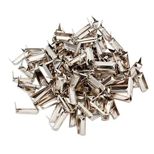perfk 100x Metall Rechteck Pyramidennieten Nieten Ziernieten Schmucknieten Schmucknieten Basteln DIY - Silber 16x6mm