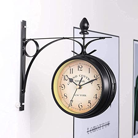 GGHKDD Retro Double-Sided Wall Clock, Double-sided Wall Clock Station Retro Dial with Stem Fixing Pendulum for Indoor&Outdoor Garden Best gift for Home (Diameter 4.77inch)