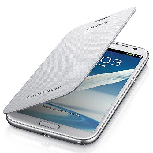 Samsung Hülle Schutzhülle Clip-On Flip Case Cover in Lederoptik für Galaxy Note 2 - Weiß
