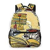 OMQFEW Mochilas Portatil 14 Pulgadas, Resistente Al Agua Casual Mochila, Multifuncional Mochila De Gran Capacidad para Hombre Mujer Escolar Trabajo Viajes Literatura Libros Taza Café