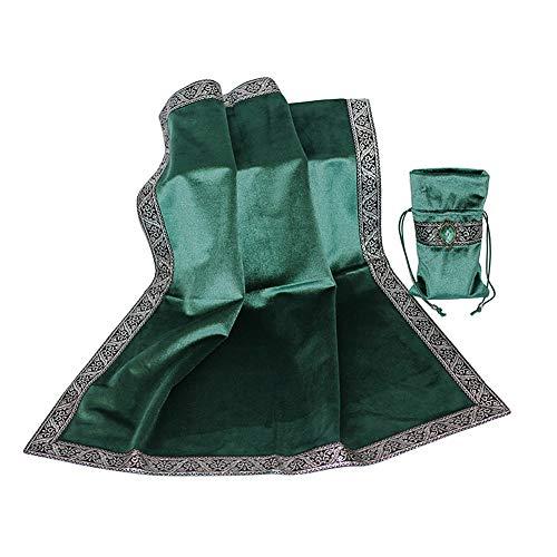 Altar Tarotkarten Tasche Tischdecke Tischdecke Wahrsagung Wicca Samt Tapisserie (grün)