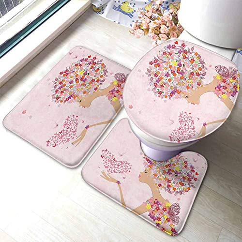 Pink 3-Piece Non-Slip Bath Mat Rug Set Fashion Flowers Girl with Heart of Butterflies Wings Spring Theme Artistic Hand Drawn Large, Small and Contour, Multicolor