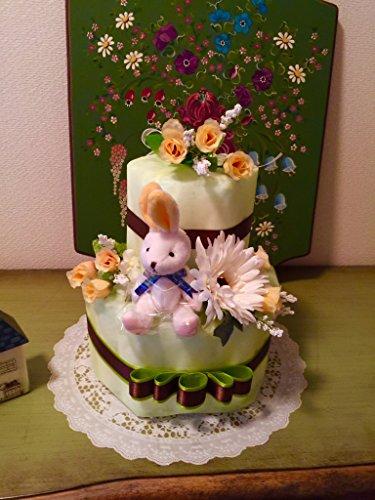 おむつケーキ 2段 男女兼用 人気 Happy Lime おしゃれセンスが良い 出産祝い 結婚祝 人気ナンバーワン(はじめての肌へのいちばんMサイズ)