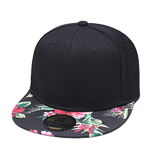 Quanhaigou Premium Floral Flower Hawaiian Cotton Adjustable Snapback Hats Men's Women's Hip-Hop Flat Bill Baseball Caps Black Red