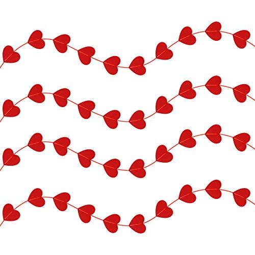 CHIFOOM Adornos a Día de San Valentín Corazones 4PCS Adornos en Forma de Corazón de Fieltro,para Decoraciones de Fiesta,Valentine,Nochevieja, Boda,Cumpleaños Aniversario en Hogar,Cafetería,Florista