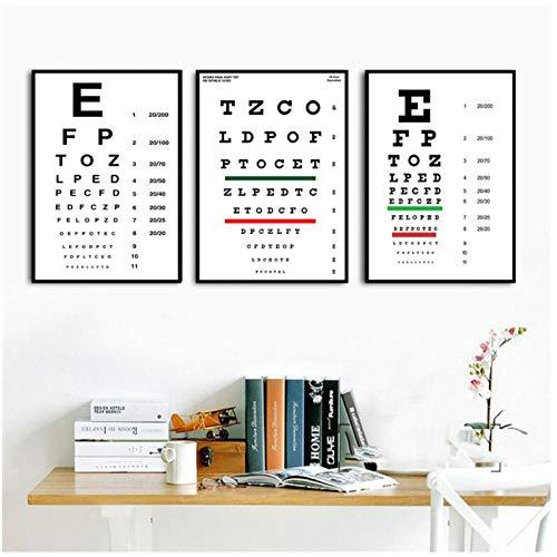 kldfig Moderne Sehtestkarte Beste Augen Test Angebote Leinwandbilder Kunst Gemälde Wandbilder Für Wohnzimmer Wohnkultur-40 * 50 cm ungerahmt-3 stück