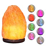 pursalt Himalayan 8 Colors Changing Salt Lamp Night Light, USB Mini Small Salt Lamp with Natural Crystal Pink Salt Rock for Air Purifying, Home Décor, Gifts, LED Bulb and Hand Carved Taly Wood Base