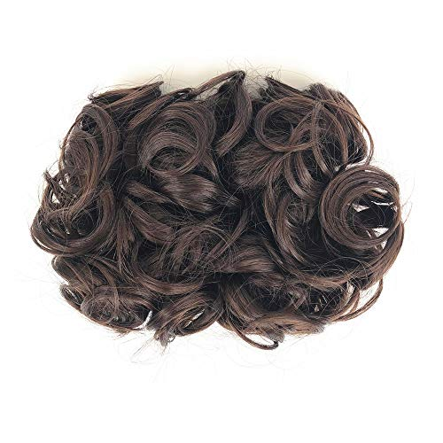 ZZRRYY Premium Messy Curly Dish Hair Bun Extension, Easy Stretch hair Combs Clip in Ponytail, Upgraded Scrunchies Chignon Tray Ponytail Hairpieces Bun Dark Brown ( Bun - #4)