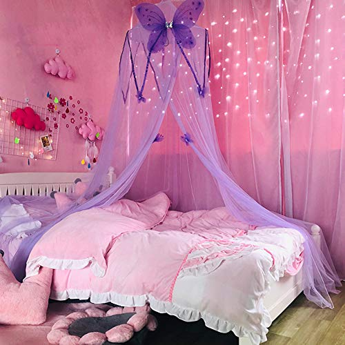 SXFYHXY Bed Canopy, Canopy Round Dome Dreamy Children's Tent with Big Butterfly Decoration Children's Tent Bed Curtain Perfect For Girls, Kids Bed
