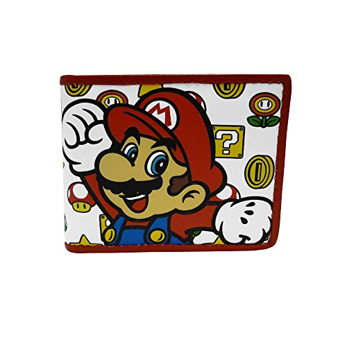 NINTENDO SUPER MARIO BROS. Mushroom Pattern With Mario Bi-fold Wallet, White