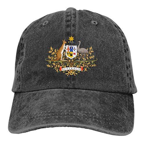 Denim-Kappe, Australien-Baseballkappe, Känguru, Straußenflagge, verstellbar, klassisch, für Männer und Frauen -  Schwarz -  Einheitsgröße