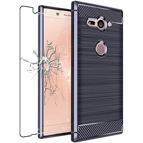 ebestStar - kompatibel mit Sony Xperia XZ2 Compact Hülle Kohlenstoff Design Schutzhülle, TPU Handyhülle Flex Silikon Hülle, Dunkelblau + Panzerglas Schutzfolie [Phone: 135 x 65 x 12.1mm, 5.0'']