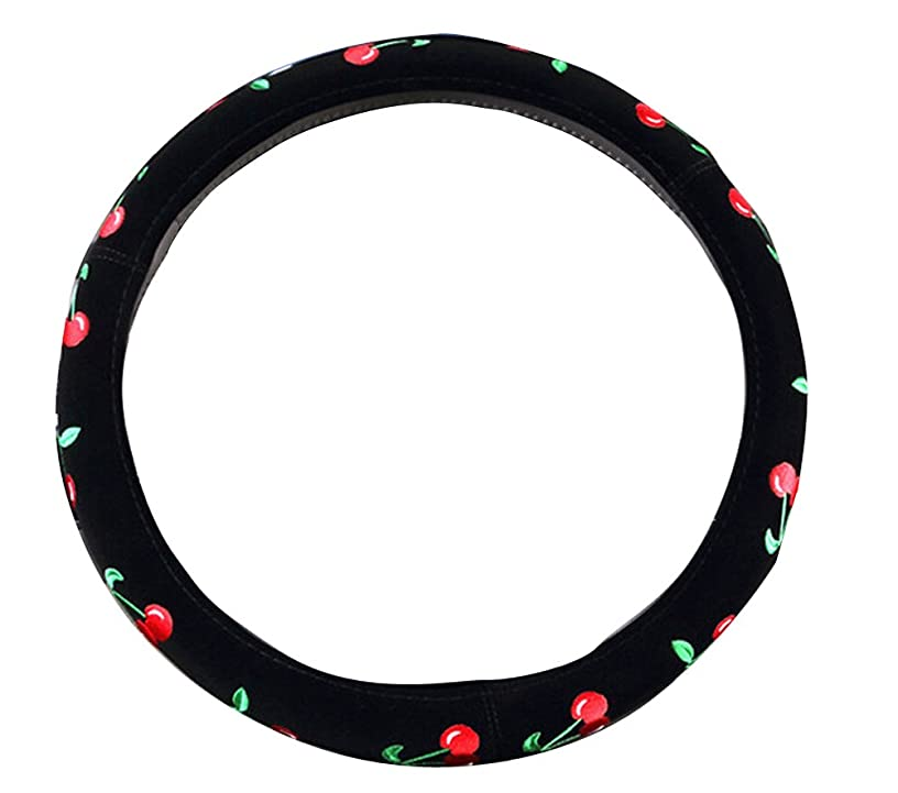 Mayco Bell 2016 Automotive Women Embroidery Cute Car Steering Wheel Cover (Cherry)