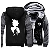 GMANKEE Herren Frauen Hoodie Velvet Graphic Dicke Warme Winterjacke Velvet Dickmantel Herren Hoodies Unisex Dragon Ball Goku Anime Clothing