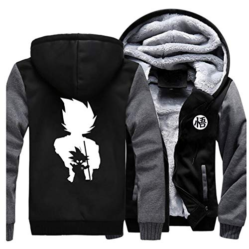 GMANKEE Dicker Herren Und Damen Sweatshirt Hoodie Dicke Warme Winterjacke Samt Herrenmantel Mit Dickem Mantel Hoodies Dragon Ball Goku Anime Clothing