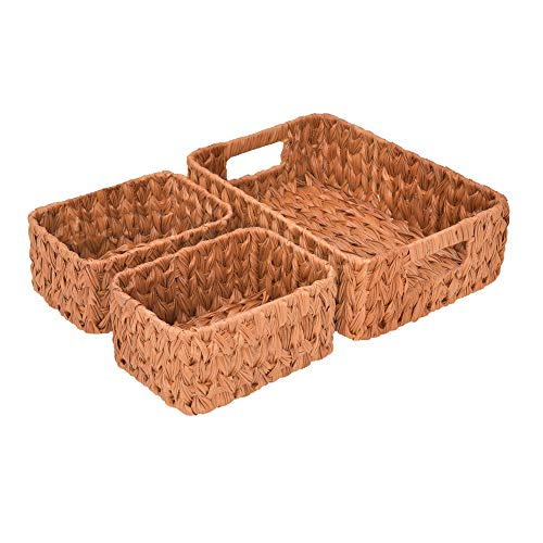 GRANNY SAYS Hand-Woven Storage Baskets, Wicker Baskets with Handles, Decorative Basket Set, Walnut, Set of 3 (1PC Large, 2PCS Medium)