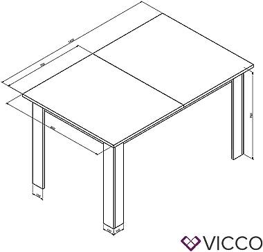 Table de Salle à Manger VICCO KARLOS 140 cm Blanche, Table, Salle à Manger, séjour, Table de Cuisine