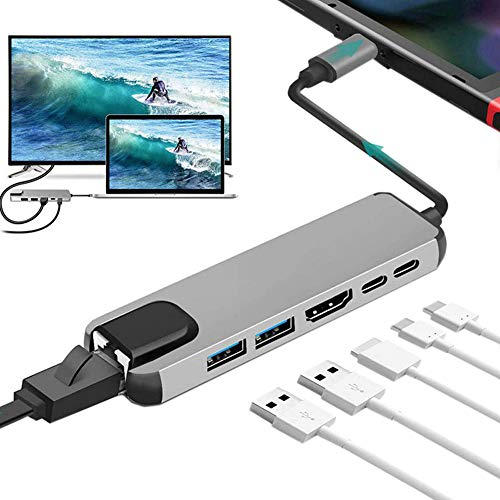 Hub Usb 3.0 de 2 Puertos De Datos Ultrafino de Aluminio Data 6 En 1 Tipo C Adaptador Usb C Con 4K Hdmi, Sd/Tf Compatible para Macbook, Samsung, Huawei, Otros USB C Dispositivos