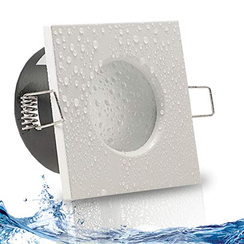 AQUA BASE IP65 1er Set ultra flach LED 5W = 50W 230V Decken Einbaustrahler eckig Weiß Warmweiss 3000k nur 50 mm Einbautiefe Bad Feuchtraum Einbauleuchte quadratisch