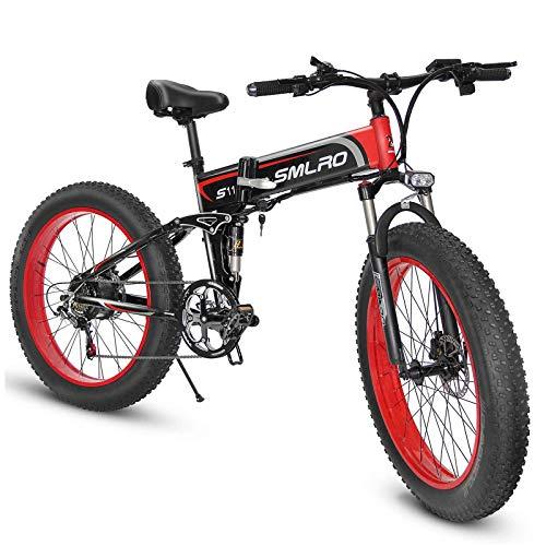 SMLRO Vélos électriques Pliant pour Adultes, 26' VTT électrique avec Moteur Haute Vitesse 500W/1000W, Fat Bike avec Batterie Amovible au Lithium 48V 13Ah pour Hommes Femmes