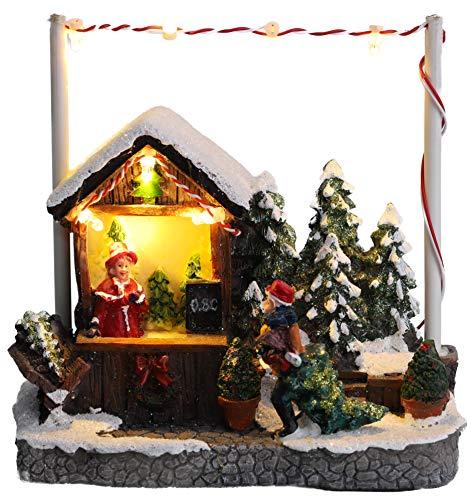"""Christmas Concepts® - Escena de Mercado navideño con luz LED de 5""""/ 13 cm (Árbol de Navidad)"""