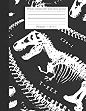 Primary composition book story journal: Dinosaur lovers Write and Draw primary journal for kids | Grades K-2, Dashed midline with story picture space ... 100 pages | jurassic composition notebook
