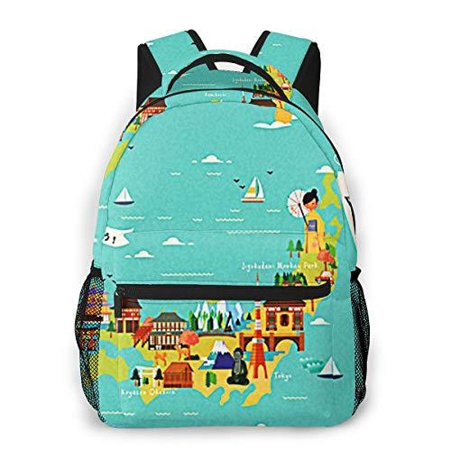 Laptop Rucksack Schulrucksack Reisekarte Let Go, 14 Zoll Reise Daypack Wasserdicht für Arbeit Business Schule Männer Frauen