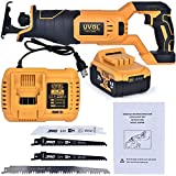 UVOL Cordless Reciprocating Saw Battery Powered 21V/4.0Ah, Powerful Lightweight Reciprocating Saw Brushless Compact Saw with Battery, Charger & Blades for Wood & Metal Cutting (BX8400)