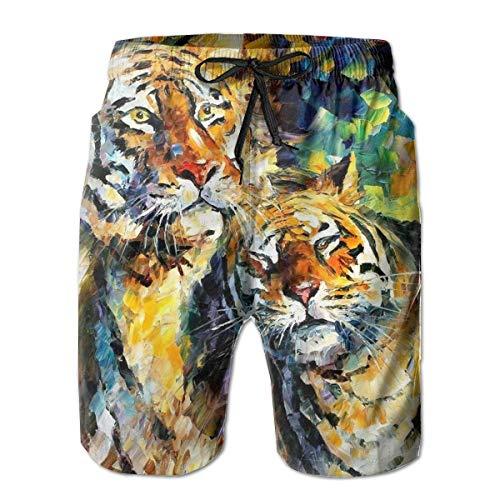 Tiger King Queen Animal Love Pintura Arte Transpirable Men & Boys Big & Tall Cargo Short Shorts de Tabla para Beach Gym Sport M