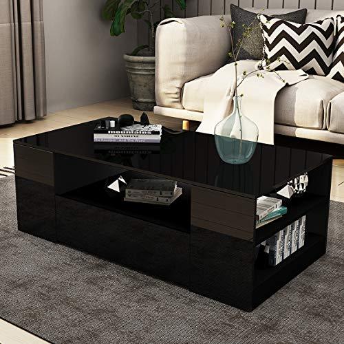 UNDRANDED Couchtisch Alle Hochglanz Modern Sofa Tisch 2 Schubladen mit Regalen Rechteck END Tisch für Wohnzimmer Zuhause Büromöbel Dekoration 95x55x37cm (Schwarz)