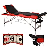 SSLine Portable Massage Table with Carrying Case 3-Section Folding SPA Tattoo Chair Bed 84' Professional Beauty Salon Adjustable Massage Lash Bed with Head & Armrest