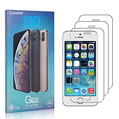 Conber [3 Stück] Displayschutzfolie kompatibel mit iPhone SE/iPhone 5 / iPhone 5S, Panzerglas Schutzfolie für iPhone SE/iPhone 5 / iPhone 5S [9H Härte][Hüllenfreundlich]