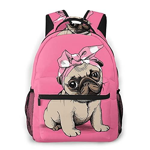 Yaxinduobao Cute Bow Puppy Girl Mochila de viaje Unisex Travel Backpack Laptop Bag Computer Bag Work Backpack Gym Sports Bag 11.5x16 In